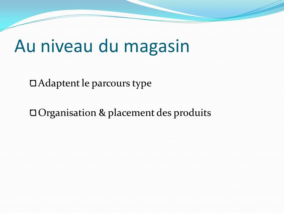 Au niveau du magasin Adaptent le parcours type Organisation & placement des produits