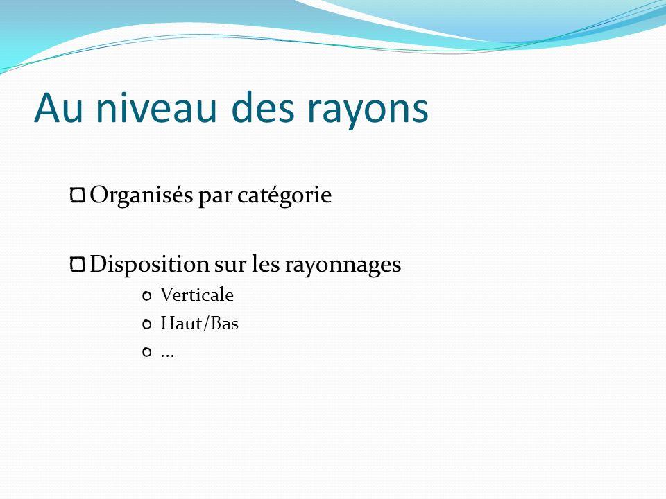 Au niveau des rayons Organisés par catégorie Disposition sur les rayonnages Verticale Haut/Bas...
