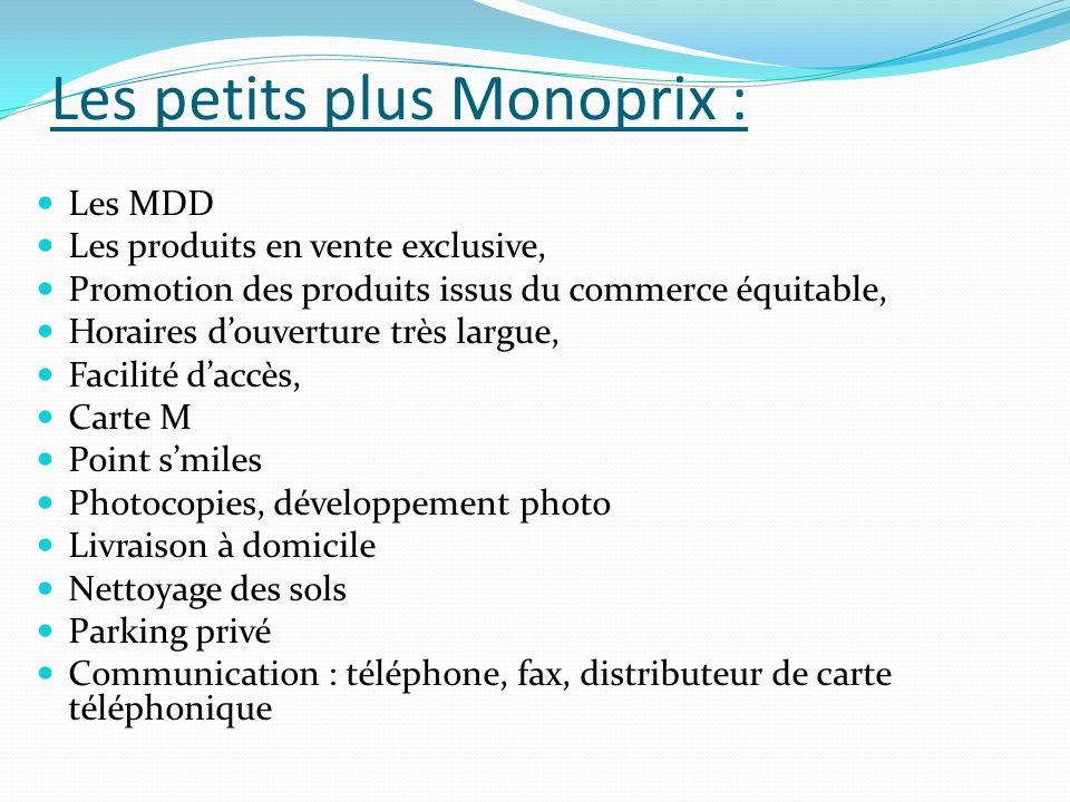 Les petits plus Monoprix : Les MDD Les produits en vente exclusive, Promotion des produits issus du commerce équitable, Horaires douverture très largu