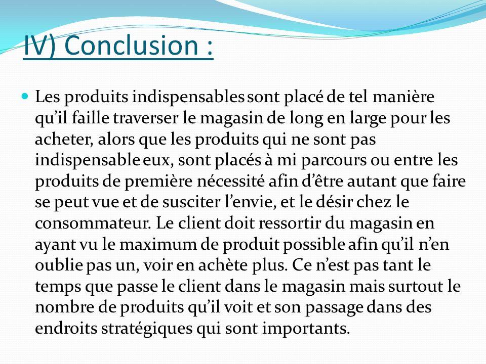 IV) Conclusion : Les produits indispensables sont placé de tel manière quil faille traverser le magasin de long en large pour les acheter, alors que l