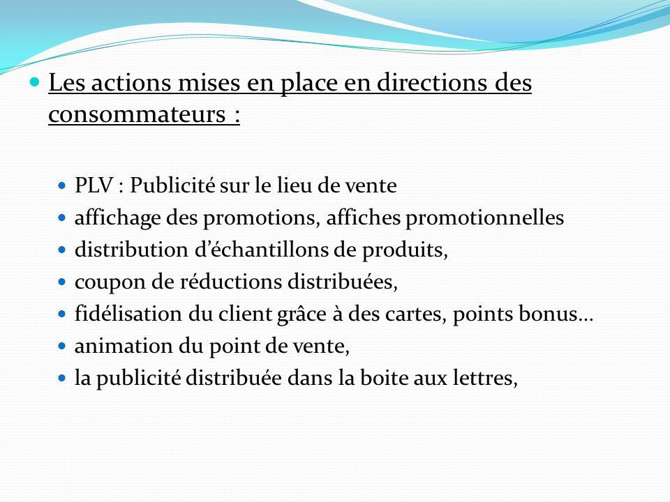 Les actions mises en place en directions des consommateurs : PLV : Publicité sur le lieu de vente affichage des promotions, affiches promotionnelles d