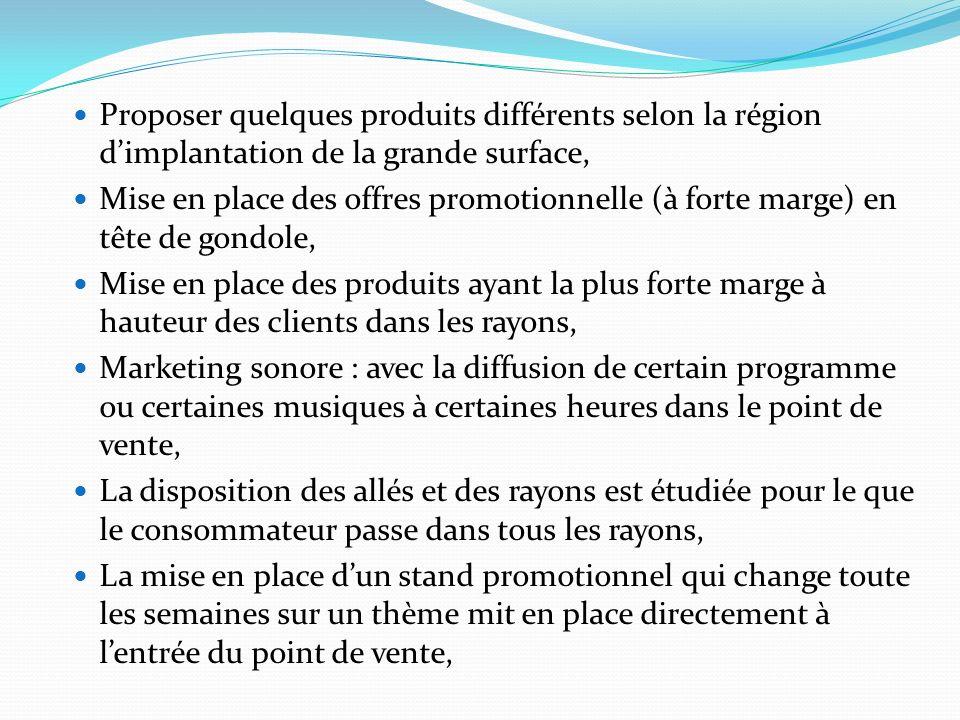 Proposer quelques produits différents selon la région dimplantation de la grande surface, Mise en place des offres promotionnelle (à forte marge) en t