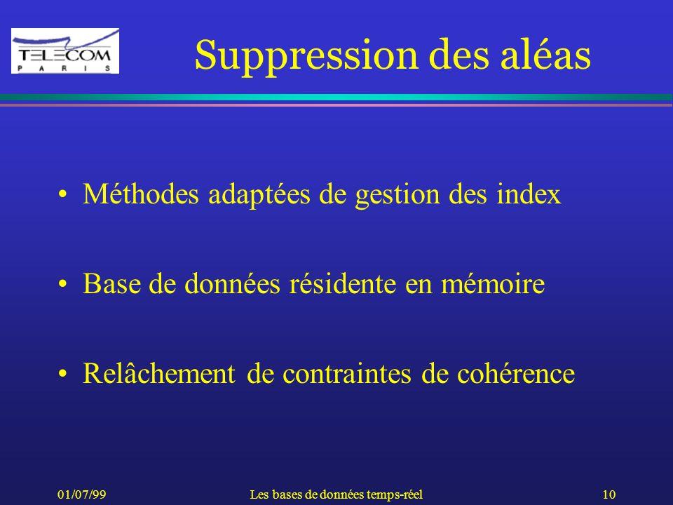 01/07/99Les bases de données temps-réel10 Suppression des aléas Méthodes adaptées de gestion des index Base de données résidente en mémoire Relâchemen