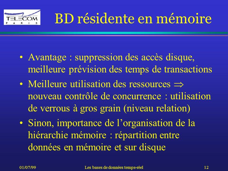 01/07/99Les bases de données temps-réel12 BD résidente en mémoire Avantage : suppression des accès disque, meilleure prévision des temps de transactio