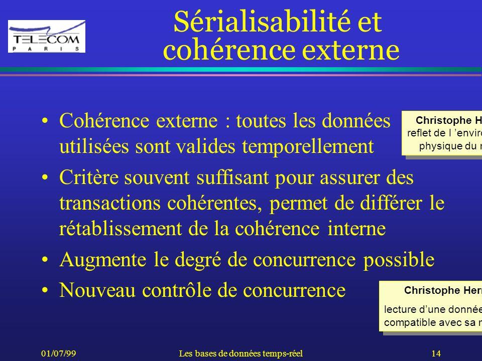 01/07/99Les bases de données temps-réel14 Sérialisabilité et cohérence externe Cohérence externe : toutes les données utilisées sont valides temporell