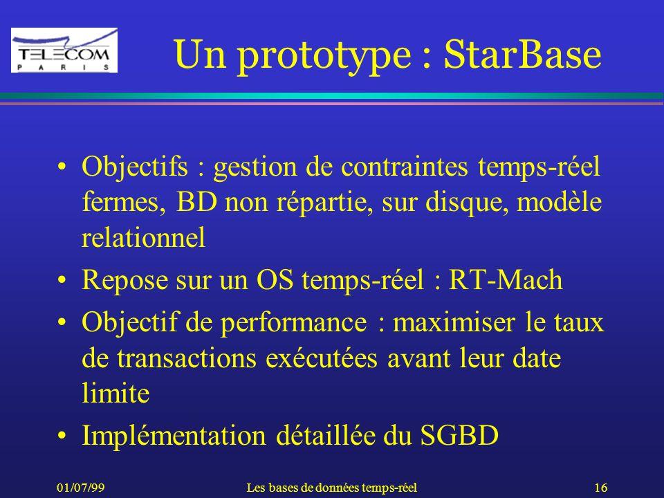 01/07/99Les bases de données temps-réel16 Un prototype : StarBase Objectifs : gestion de contraintes temps-réel fermes, BD non répartie, sur disque, m