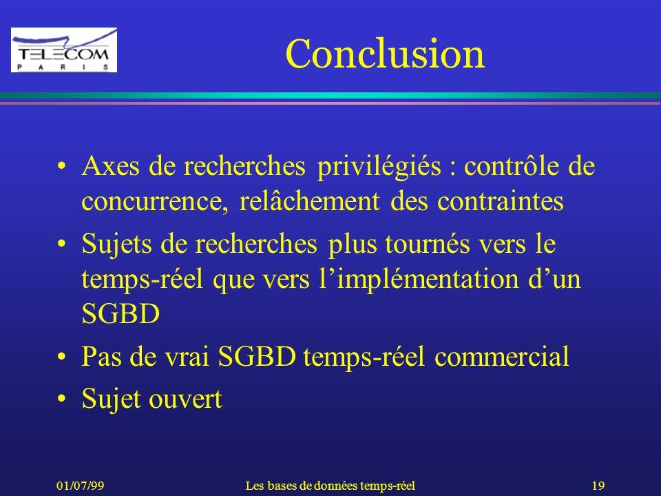 01/07/99Les bases de données temps-réel19 Conclusion Axes de recherches privilégiés : contrôle de concurrence, relâchement des contraintes Sujets de r