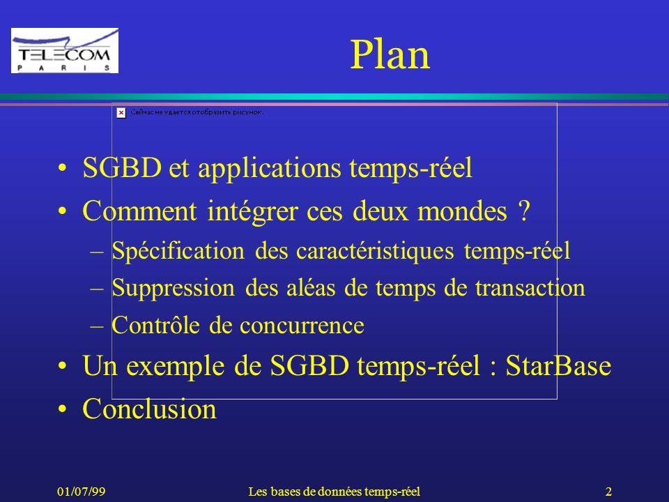 01/07/99Les bases de données temps-réel2 Plan SGBD et applications temps-réel Comment intégrer ces deux mondes ? –Spécification des caractéristiques t