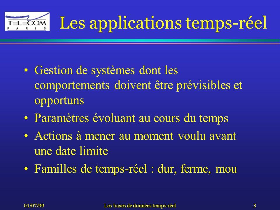 01/07/99Les bases de données temps-réel3 Les applications temps-réel Gestion de systèmes dont les comportements doivent être prévisibles et opportuns