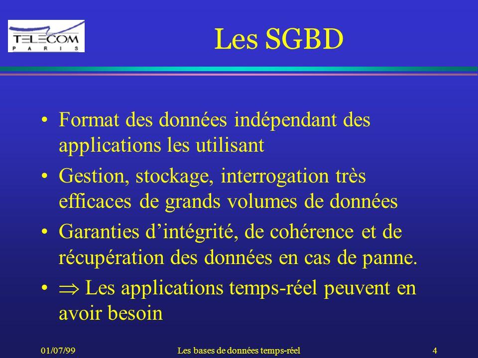 01/07/99Les bases de données temps-réel4 Les SGBD Format des données indépendant des applications les utilisant Gestion, stockage, interrogation très