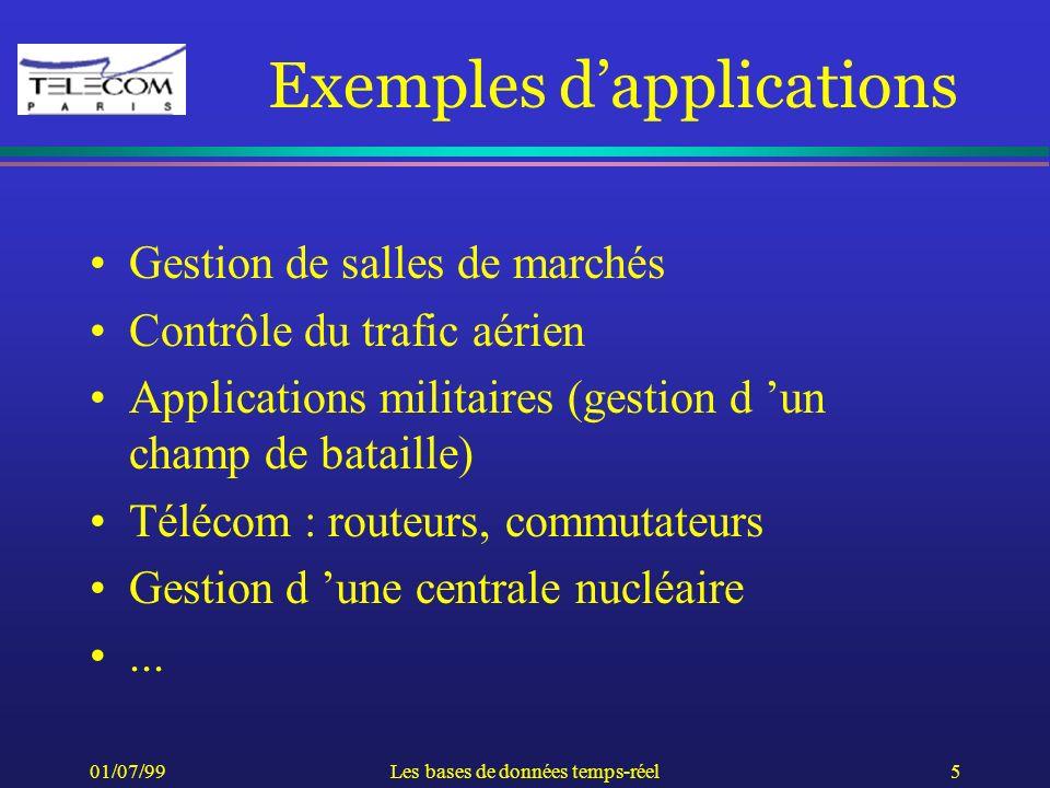 01/07/99Les bases de données temps-réel5 Exemples dapplications Gestion de salles de marchés Contrôle du trafic aérien Applications militaires (gestio