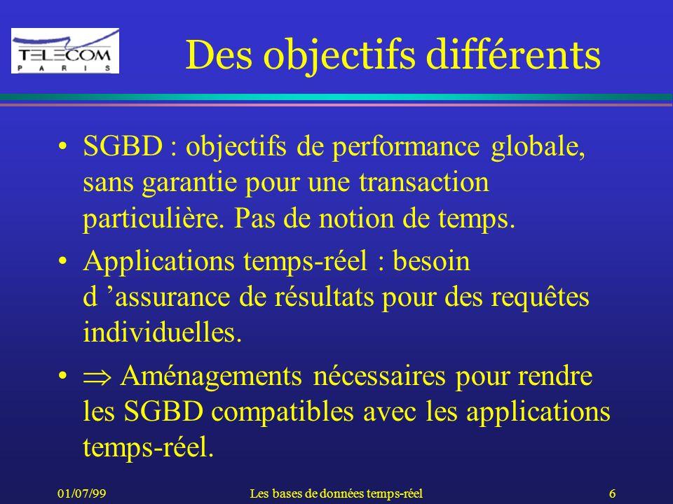 01/07/99Les bases de données temps-réel6 Des objectifs différents SGBD : objectifs de performance globale, sans garantie pour une transaction particul