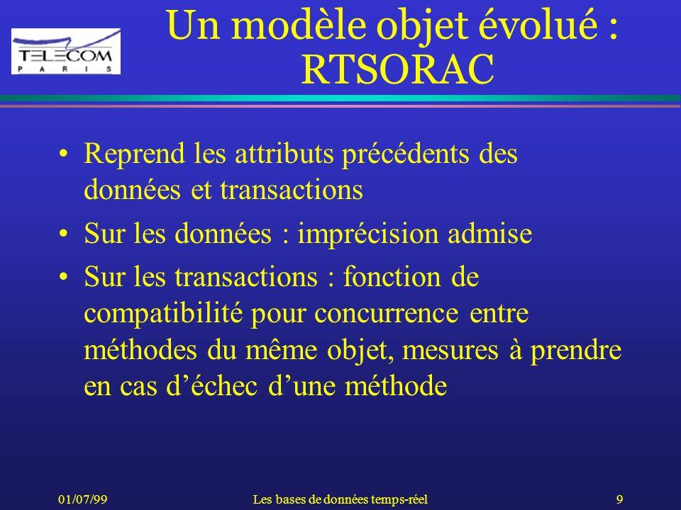 01/07/99Les bases de données temps-réel9 Un modèle objet évolué : RTSORAC Reprend les attributs précédents des données et transactions Sur les données