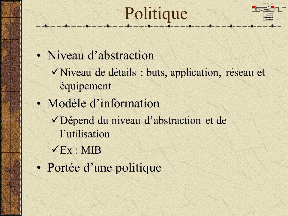 Politique Niveau dabstraction Niveau de détails : buts, application, réseau et équipement Modèle dinformation Dépend du niveau dabstraction et de lutilisation Ex : MIB Portée dune politique