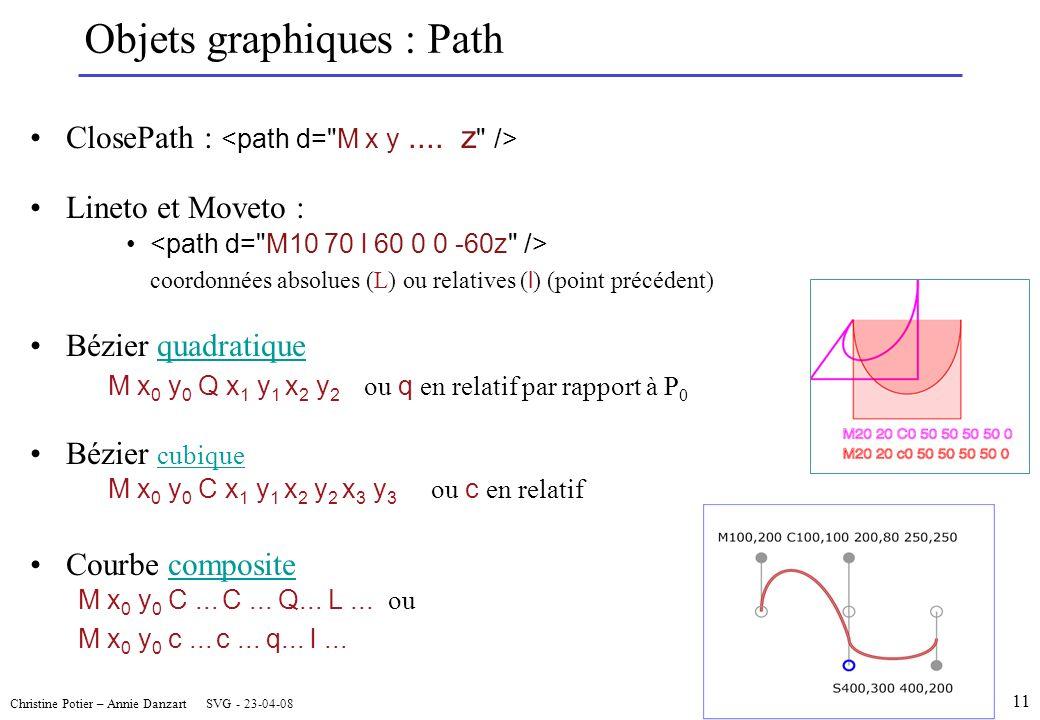 Christine Potier – Annie Danzart SVG - 23-04-08 Objets graphiques : Path ClosePath : Lineto et Moveto : coordonnées absolues (L) ou relatives ( l ) (point précédent) Bézier quadratiquequadratique M x 0 y 0 Q x 1 y 1 x 2 y 2 ou q en relatif par rapport à P 0 Bézier cubique cubique M x 0 y 0 C x 1 y 1 x 2 y 2 x 3 y 3 ou c en relatif Courbe compositecomposite M x 0 y 0 C...