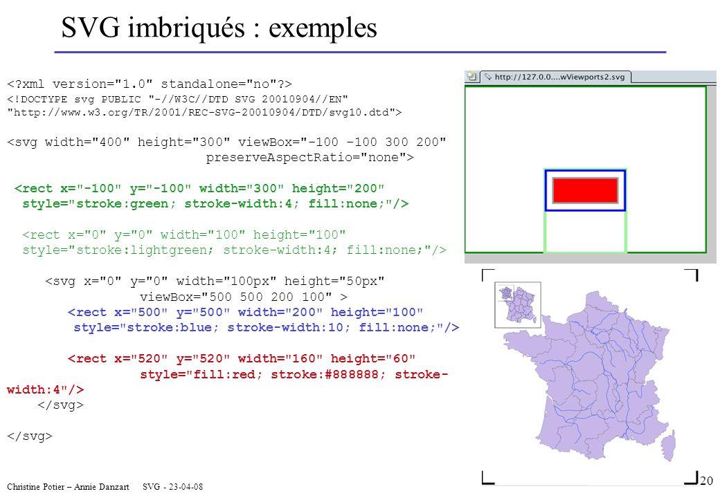 Christine Potier – Annie Danzart SVG - 23-04-08 SVG imbriqués : exemples <!DOCTYPE svg PUBLIC -//W3C//DTD SVG 20010904//EN http://www.w3.org/TR/2001/REC-SVG-20010904/DTD/svg10.dtd > <svg width= 400 height= 300 viewBox= -100 -100 300 200 preserveAspectRatio= none > <rect x= -100 y= -100 width= 300 height= 200 style= stroke:green; stroke-width:4; fill:none; /> <rect x= 0 y= 0 width= 100 height= 100 style= stroke:lightgreen; stroke-width:4; fill:none; /> <svg x= 0 y= 0 width= 100px height= 50px viewBox= 500 500 200 100 > <rect x= 500 y= 500 width= 200 height= 100 style= stroke:blue; stroke-width:10; fill:none; /> <rect x= 520 y= 520 width= 160 height= 60 style= fill:red; stroke:#888888; stroke- width:4 /> 20