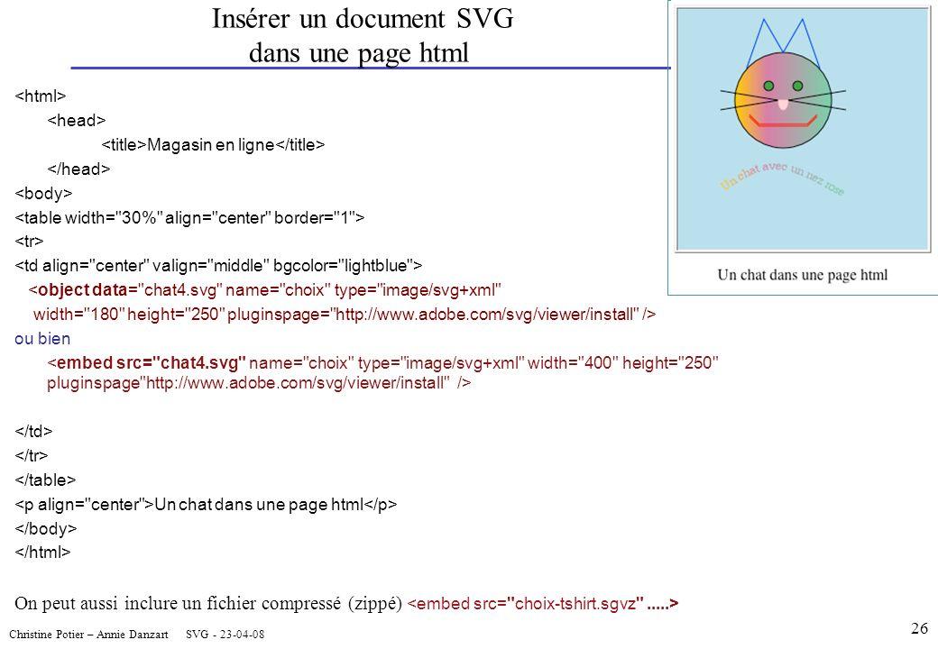 Christine Potier – Annie Danzart SVG - 23-04-08 Insérer un document SVG dans une page html Magasin en ligne <object data= chat4.svg name= choix type= image/svg+xml width= 180 height= 250 pluginspage= http://www.adobe.com/svg/viewer/install /> ou bien Un chat dans une page html On peut aussi inclure un fichier compressé (zippé) 26