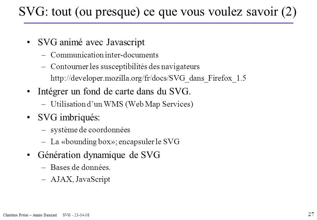 SVG animé avec Javascript –Communication inter-documents –Contourner les susceptibilités des navigateurs http://developer.mozilla.org/fr/docs/SVG_dans_Firefox_1.5 Intégrer un fond de carte dans du SVG.