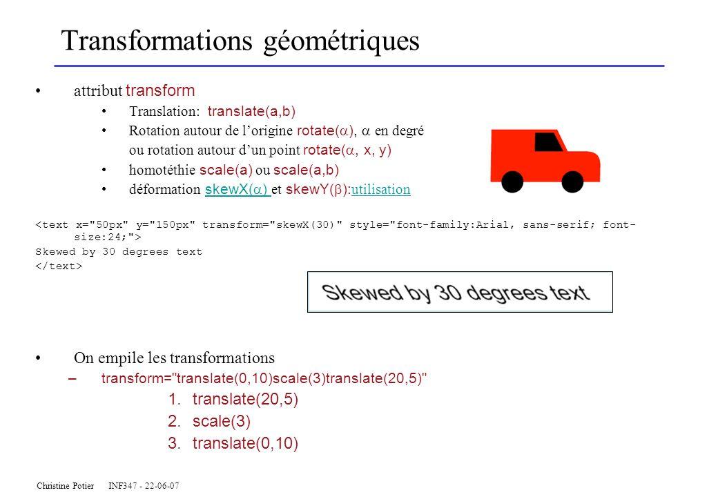 Christine Potier INF347 - 22-06-07 Transformations géométriques attribut transform Translation: translate(a,b) Rotation autour de lorigine rotate( ), en degré ou rotation autour dun point rotate(, x, y) homotéthie scale(a) ou scale(a,b) déformation skewX( ) et skewY( ): utilisation skewX( ) utilisation Skewed by 30 degrees text On empile les transformations –transform= translate(0,10)scale(3)translate(20,5) 1.