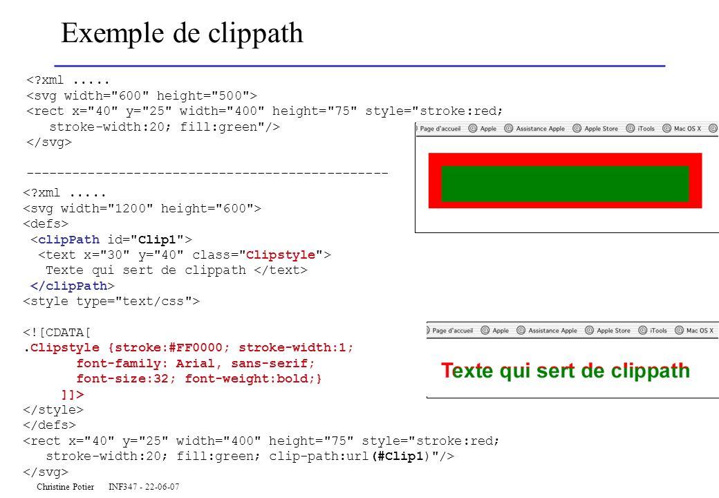 Christine Potier INF347 - 22-06-07 Exemple de clippath <?xml..... <rect x=