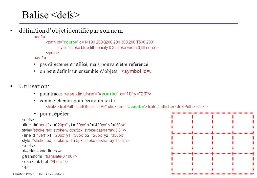Christine Potier INF347 - 22-06-07 Balise définition dobjet identifié par son nom <path id= courbe d= M100 200Q200,200 300,200 T500,200 style= stroke:blue;fill-opacity:0.3;stroke-width:3;fill:none > pas directement utilisé, mais pouvant être référencé on peut définir un ensemble dobjets: <symbol id=..