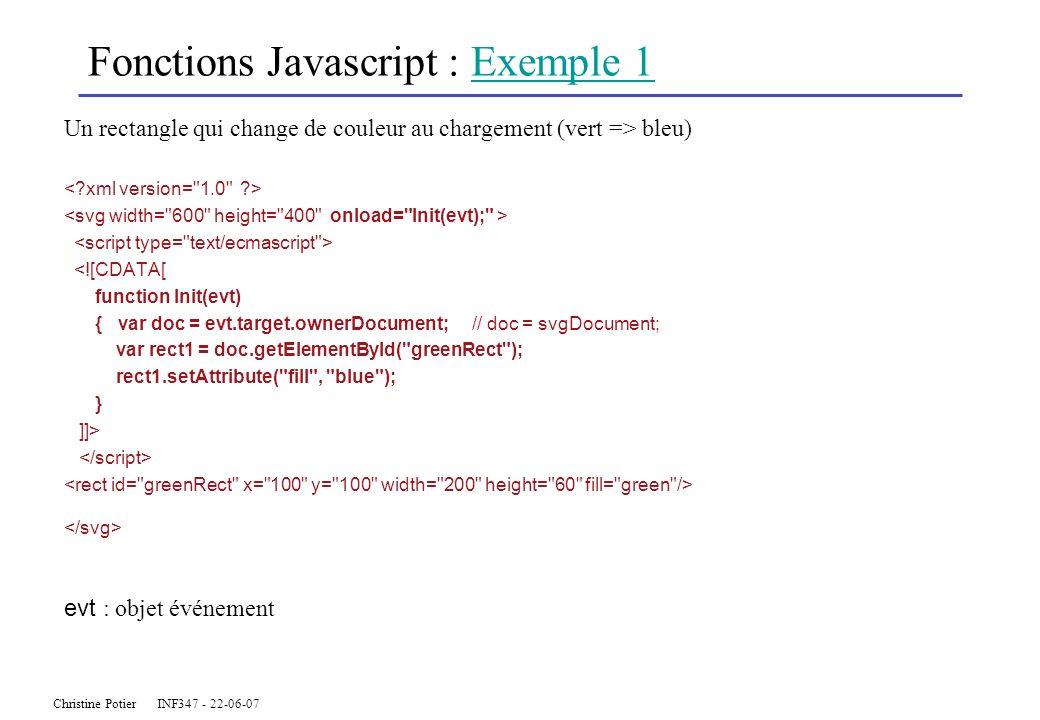 Christine Potier INF347 - 22-06-07 Fonctions Javascript : Exemple 1Exemple 1 Un rectangle qui change de couleur au chargement (vert => bleu) <![CDATA[