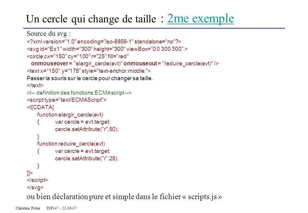 Christine Potier INF347 - 22-06-07 Un cercle qui change de taille : 2me exemple2me exemple Source du svg : <circle cx=