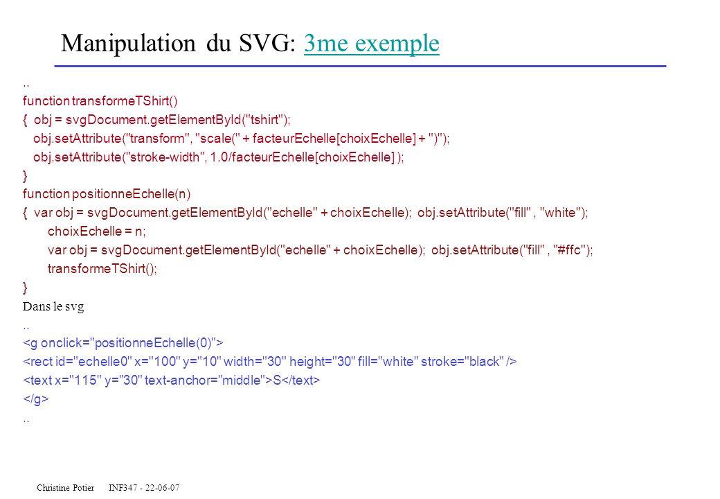 Christine Potier INF347 - 22-06-07 Manipulation du SVG: 3me exemple3me exemple.. function transformeTShirt() { obj = svgDocument.getElementById(