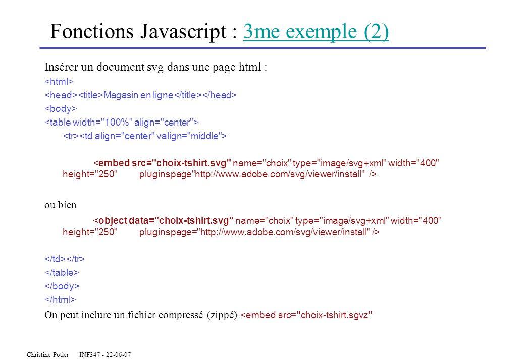 Christine Potier INF347 - 22-06-07 Fonctions Javascript : 3me exemple (2)3me exemple (2) Insérer un document svg dans une page html : Magasin en ligne