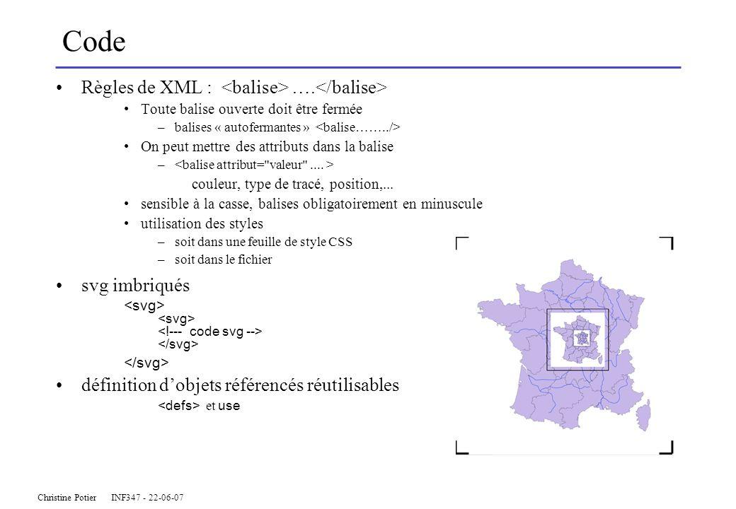 Christine Potier INF347 - 22-06-07 Code Règles de XML : …. Toute balise ouverte doit être fermée –balises « autofermantes » On peut mettre des attribu