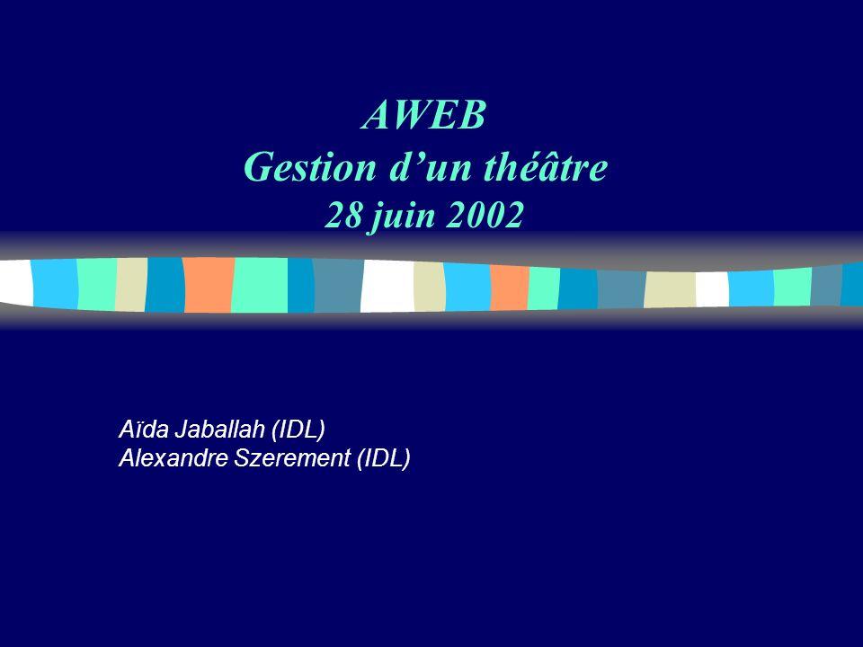 AWEB Gestion dun théâtre 28 juin 2002 Aïda Jaballah (IDL) Alexandre Szerement (IDL)