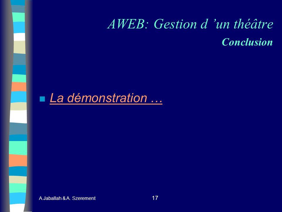 A.Jaballah & A. Szerement 17 AWEB: Gestion d un théâtre Conclusion n La démonstration … La démonstration …