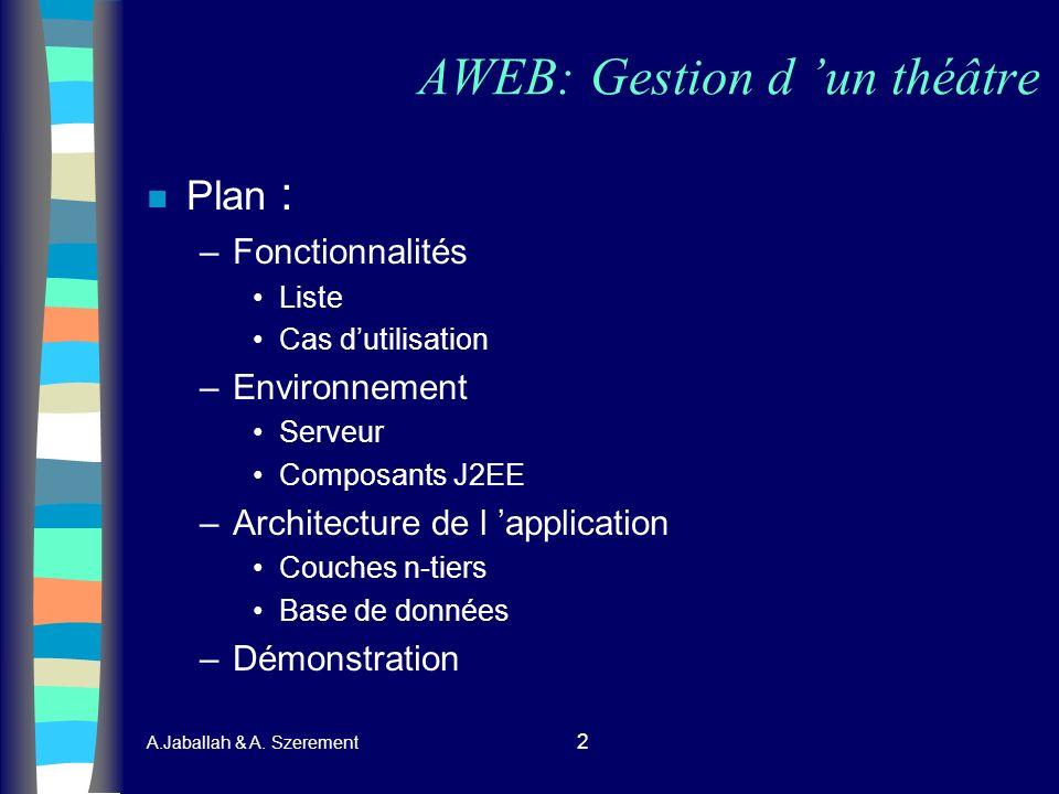 A.Jaballah & A. Szerement 2 AWEB: Gestion d un théâtre n Plan : –Fonctionnalités Liste Cas dutilisation –Environnement Serveur Composants J2EE –Archit