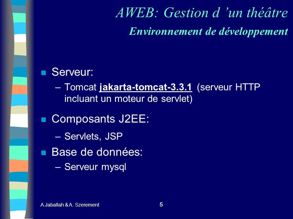 A.Jaballah & A. Szerement 5 AWEB: Gestion d un théâtre Environnement de développement n Serveur: –Tomcat jakarta-tomcat-3.3.1 (serveur HTTP incluant u