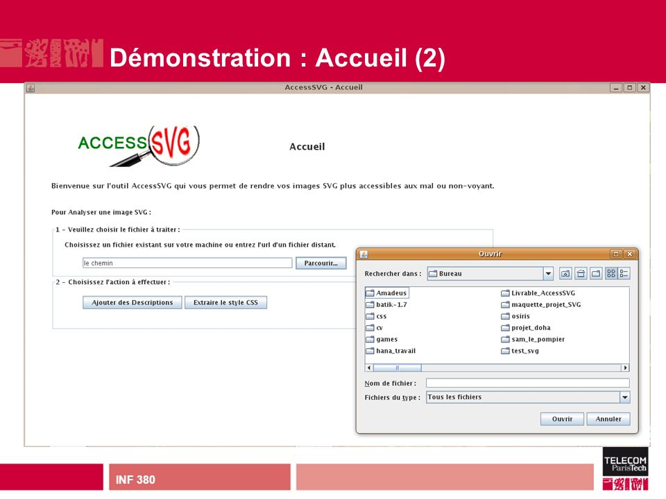 INF 380 Démonstration : Accueil (2)