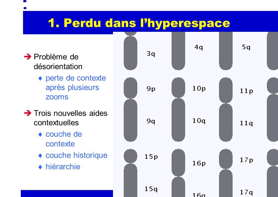 2 1. Perdu dans lhyperespace Problème de désorientation perte de contexte après plusieurs zooms Trois nouvelles aides contextuelles couche de contexte