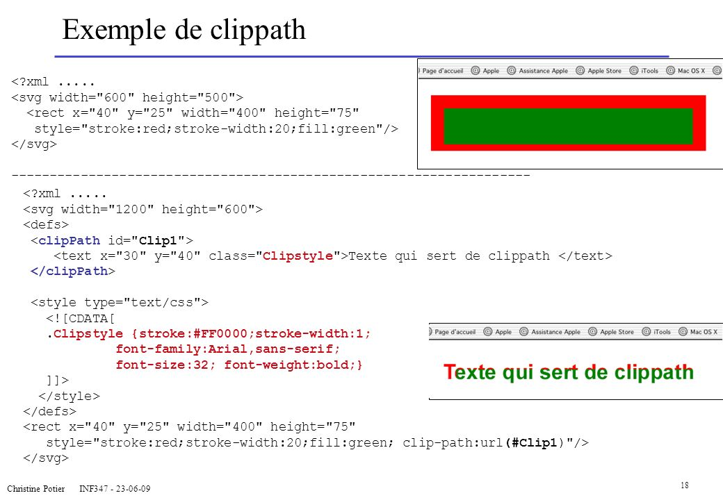 Christine Potier INF347 - 23-06-09 18 Exemple de clippath <?xml..... <rect x=