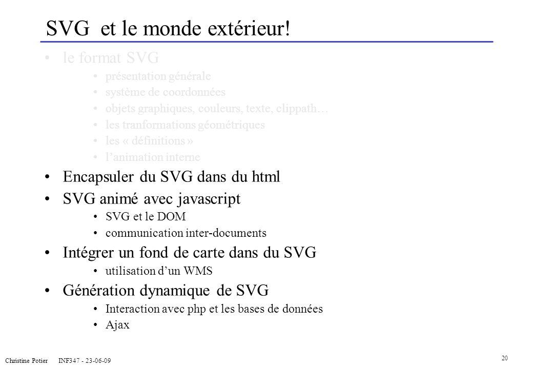 Christine Potier INF347 - 23-06-09 20 SVG et le monde extérieur! le format SVG présentation générale système de coordonnées objets graphiques, couleur