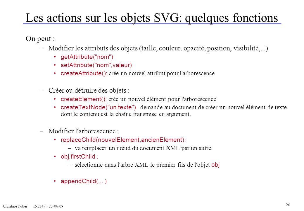Christine Potier INF347 - 23-06-09 26 Les actions sur les objets SVG: quelques fonctions On peut : –Modifier les attributs des objets (taille, couleur