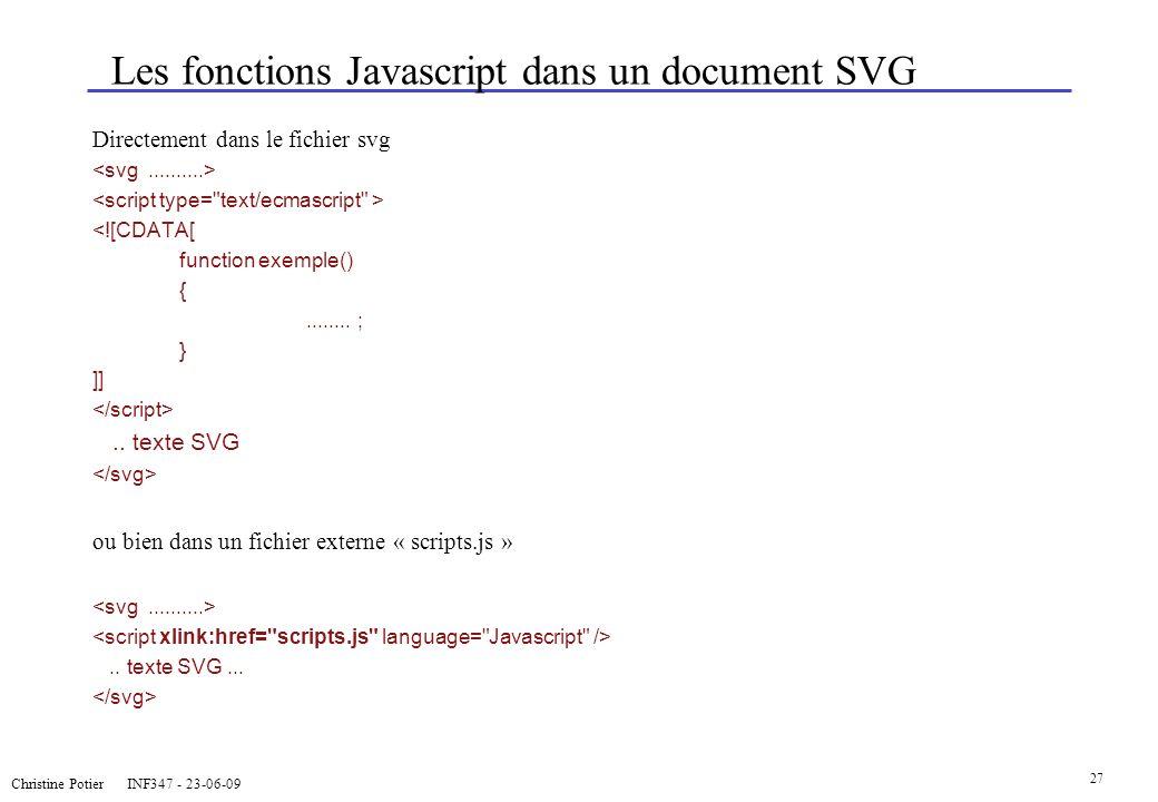 Christine Potier INF347 - 23-06-09 27 Les fonctions Javascript dans un document SVG Directement dans le fichier svg <![CDATA[ function exemple() {....