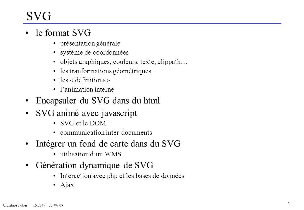3 SVG le format SVG présentation générale système de coordonnées objets graphiques, couleurs, texte, clippath… les tranformations géométriques les « d