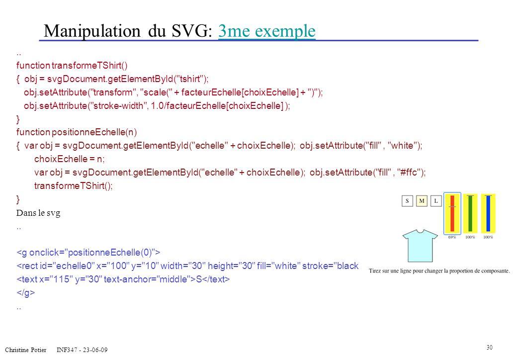 Christine Potier INF347 - 23-06-09 30 Manipulation du SVG: 3me exemple3me exemple.. function transformeTShirt() { obj = svgDocument.getElementById(