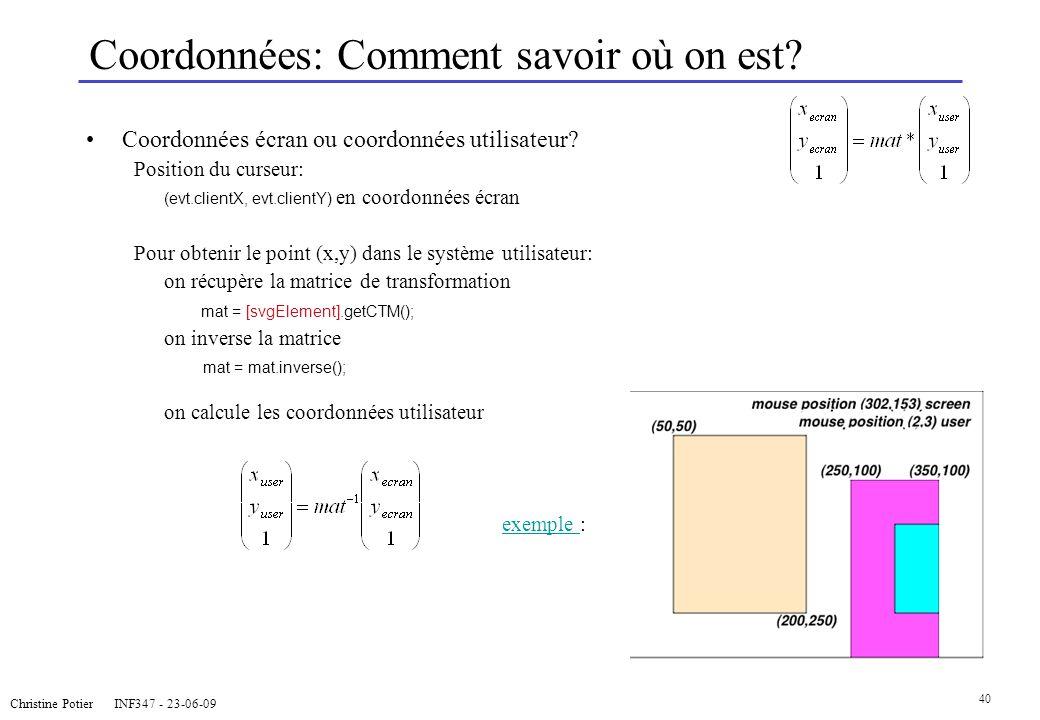 Christine Potier INF347 - 23-06-09 40 Coordonnées: Comment savoir où on est? Coordonnées écran ou coordonnées utilisateur? Position du curseur: (evt.c