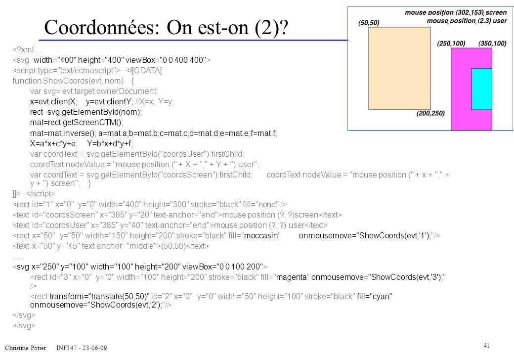 Christine Potier INF347 - 23-06-09 41 Coordonnées: On est-on (2)? <?xml.. <![CDATA[ function ShowCoords(evt, nom) { var svg= evt.target.ownerDocument;