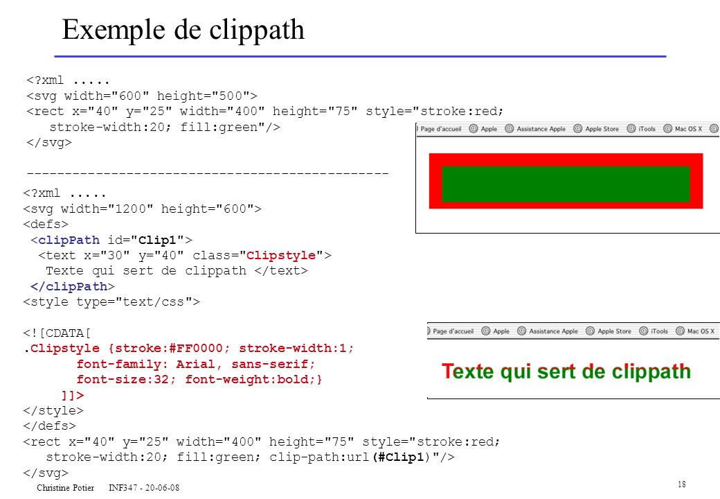 Christine Potier INF347 - 20-06-08 18 Exemple de clippath <?xml..... <rect x=