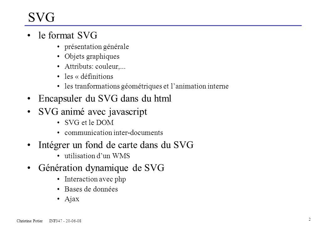 Christine Potier INF347 - 20-06-08 2 SVG le format SVG présentation générale Objets graphiques Attributs: couleur,...