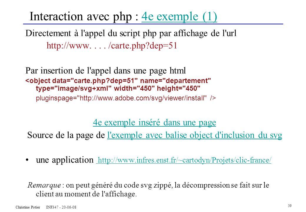 Christine Potier INF347 - 20-06-08 39 Interaction avec php : 4e exemple (1)4e exemple (1) Directement à l appel du script php par affichage de l url http://www....