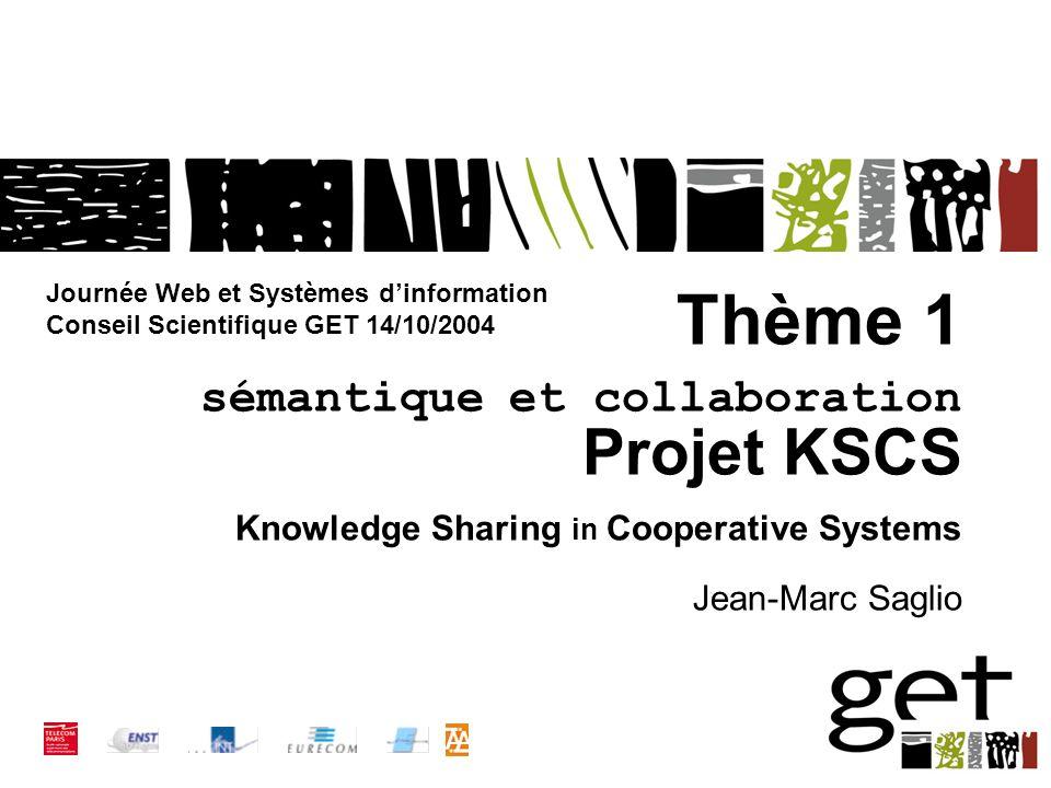 Thème 1 sémantique et collaboration Projet KSCS Knowledge Sharing in Cooperative Systems Jean-Marc Saglio Journée Web et Systèmes dinformation Conseil