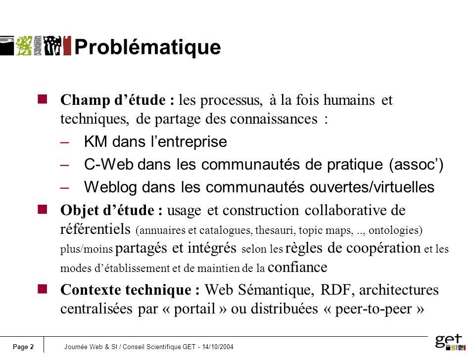 Page 2Journée Web & SI / Conseil Scientifique GET - 14/10/2004 Problématique Champ détude : les processus, à la fois humains et techniques, de partage