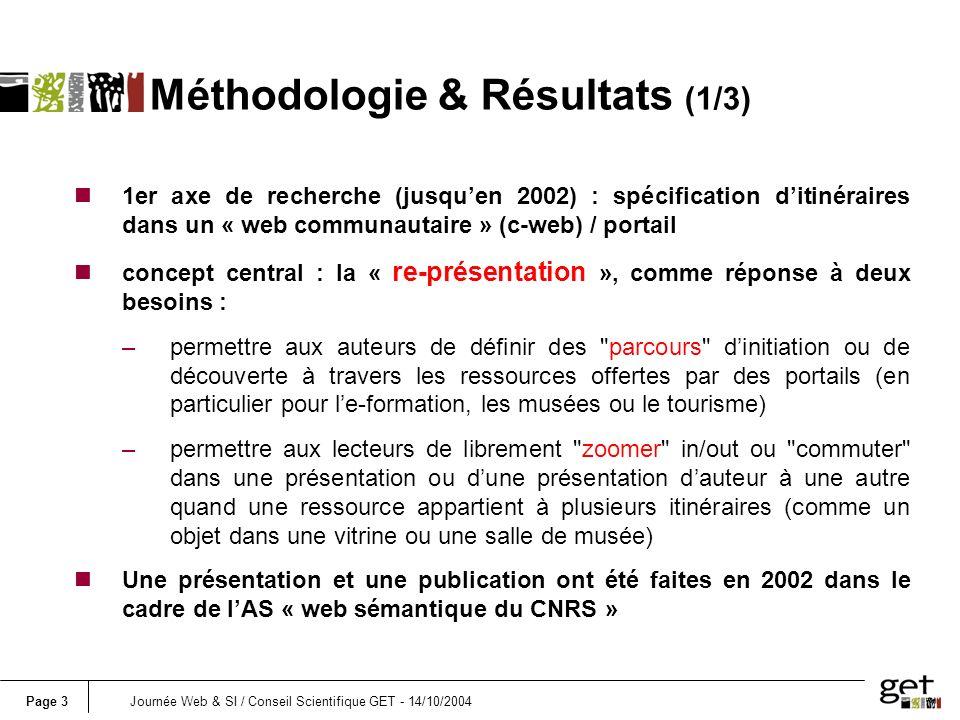 Page 3Journée Web & SI / Conseil Scientifique GET - 14/10/2004 Méthodologie & Résultats (1/3) n1er axe de recherche (jusquen 2002) : spécification dit